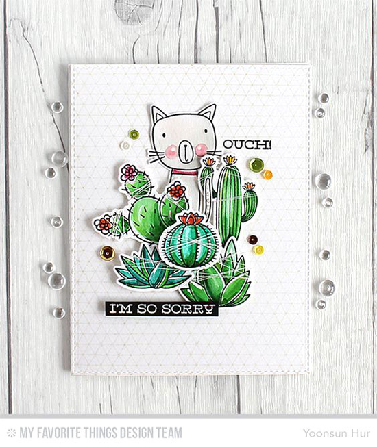 Five Prickly Cacti Card by Yoonsun Hur featuring the Cat-itude and Laina Lamb Design Sweet Succulents stamp sets and Die-namics #mftstamps