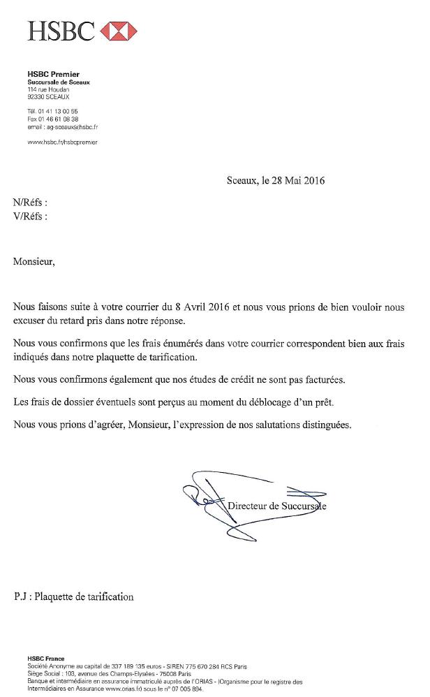 Reference Letter Citibank Aplomb Frais Dintervention Le Hsbc Se Contredit