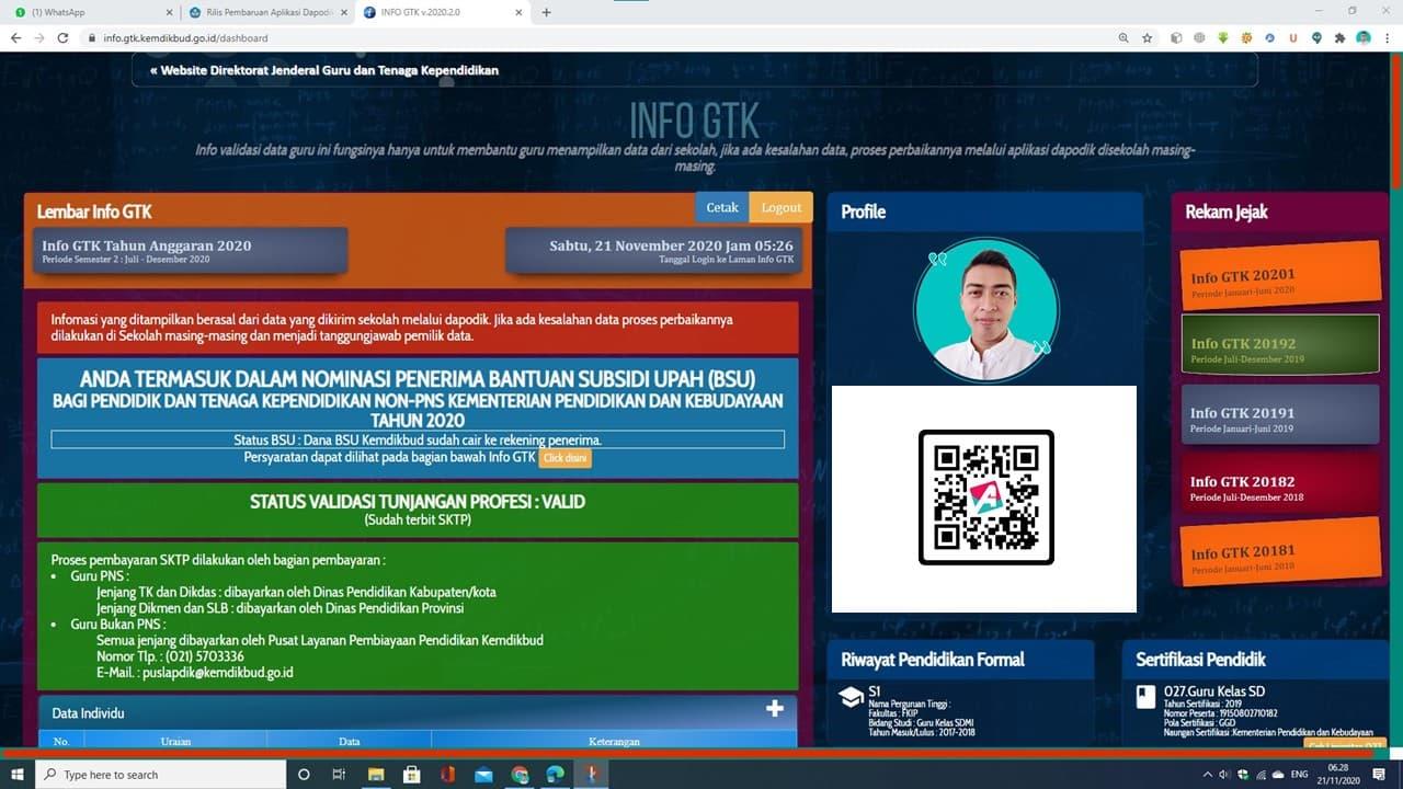 ARNAIM.COM - TIPS MUDAH CETAK SPTJM BSU KEMENDIKBUD - TAMPILAN INFO GTK