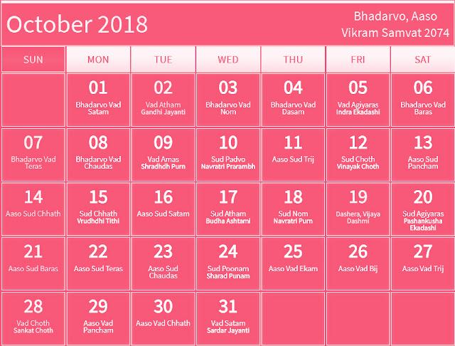 October 2018 Hindu Calendar with Tithi