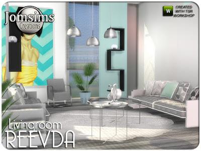 Reevda living room Реевда гостиная для The Sims 4 диван лестницы деко. картины. 2 растения. подушки деко диван. живой стул. металлический потолочный светильник высокий. ADN металлический потолочный светильник нормальный. коврики большие. Журнальный столик 1. Журнальный столик 2. и 2 полки. Автор: jomsims