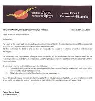 IPPB Circular on destroying cheque book