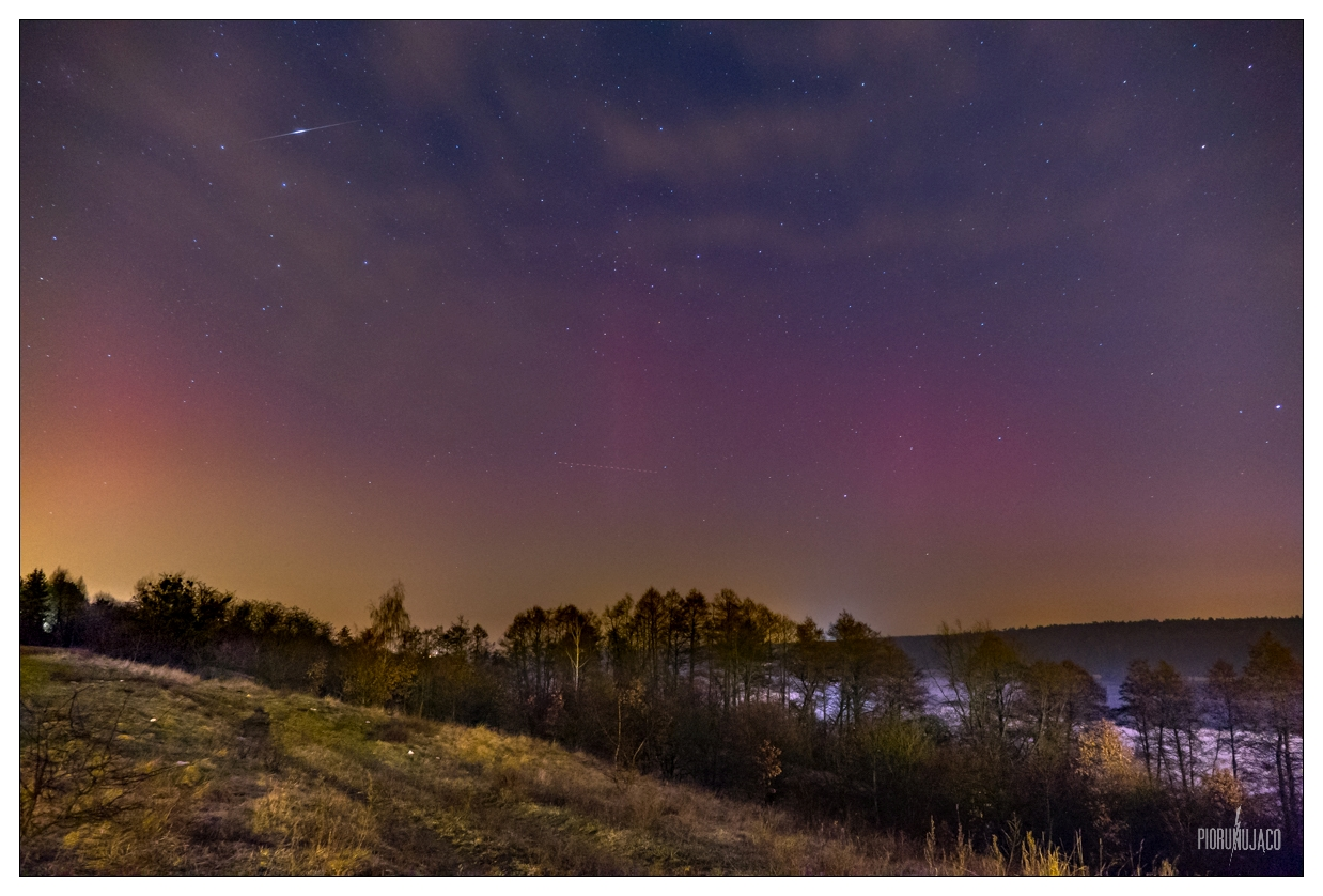 Zorza polarna sfotografowana 06.03.2016 r. - Credits:  Leszek Bartczak  - Poznań, jezioro Kierskie, wielkopolskie - między 22:40 a 23:10 CET