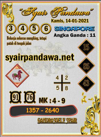 Gambar Syair Pandawa Sgp kamis 14 januari 2021