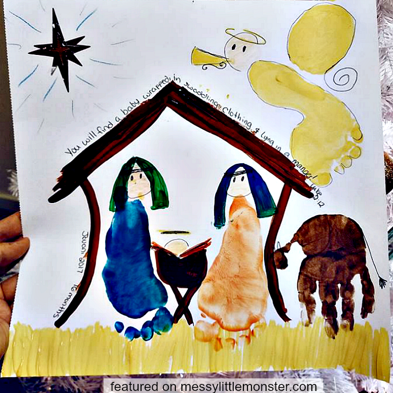 nativity handprint footprint craft