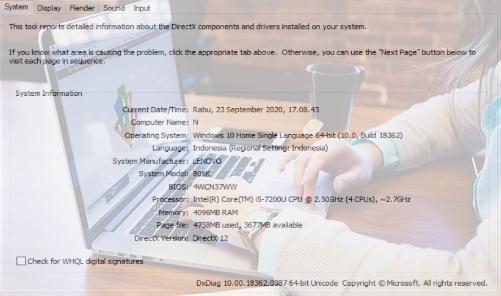 Cara melihat spesifikasi laptop Windows