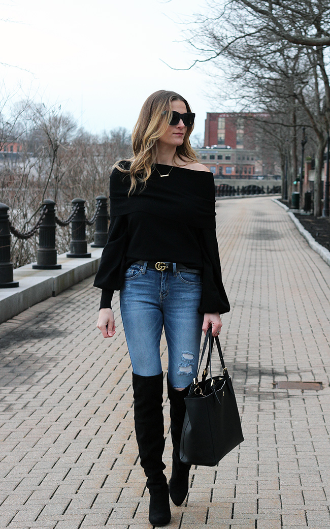 How to wear an off the shoulder sweater #winterstyle #sweater