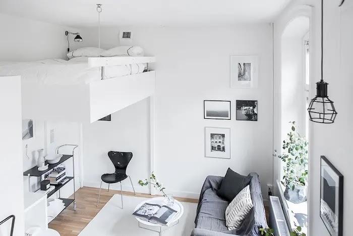 Apartamento de techos altos con dormitorio elevado