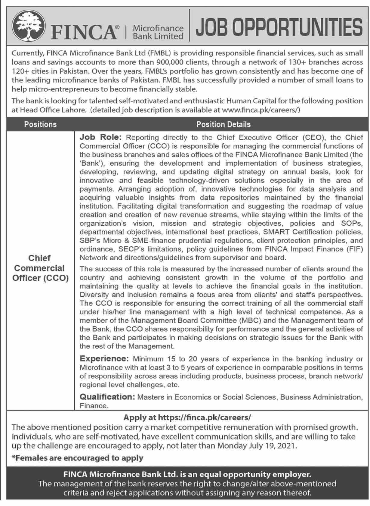 www.finca.pk Jobs 2021 - FINCA Microfinance Bank Limited Jobs 2021 in Pakistan