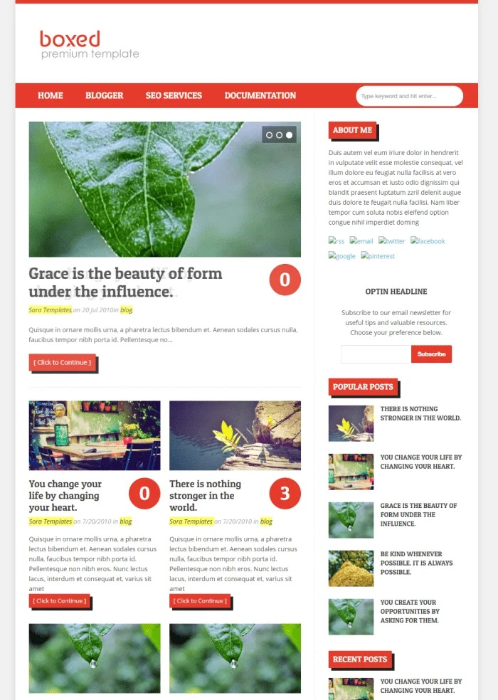 Boxed Best Free Responsive Blogger Templates