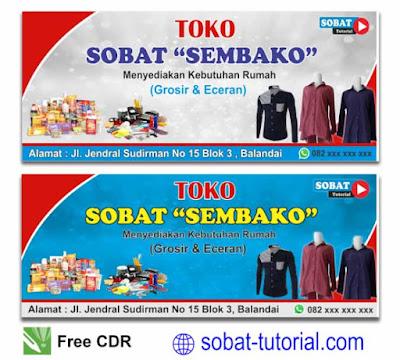 Contoh Desain Spanduk Toko Sembako Format CDR