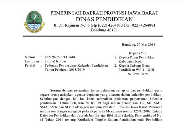 Kalender Pendidikan Provinsi Jawa Barat Tahun 2018/2019