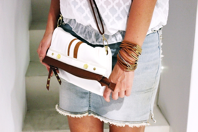 White and brown purse.Suede wrap bracelet.