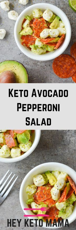KETO AVOCADO PEPPERONI SALAD