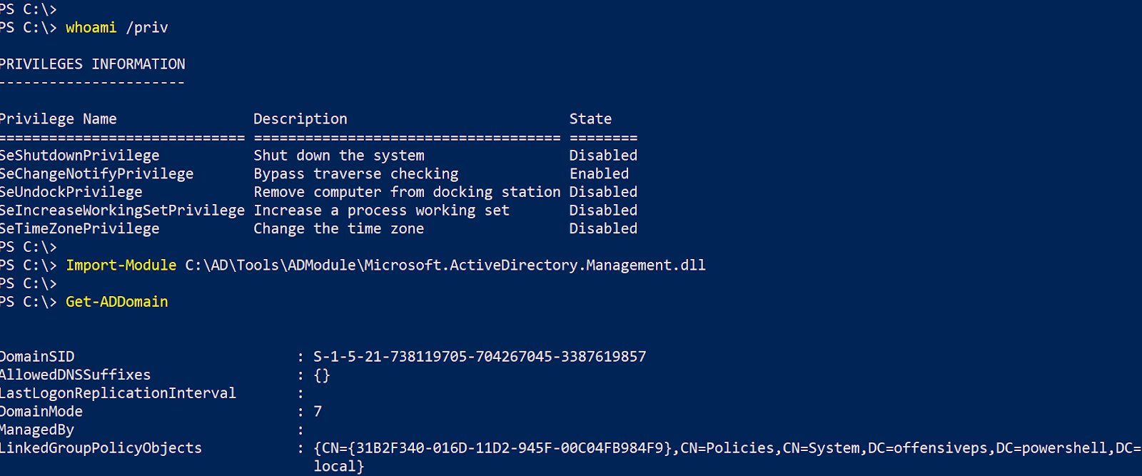 Using ActiveDirectory module for Domain Enumeration from
