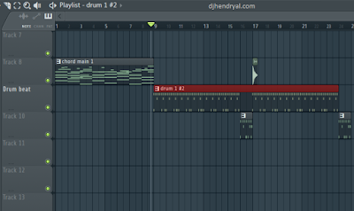 hasil merge pattern di dalam playlist fl studio