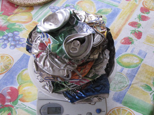 crushed aluminum cans on a scale