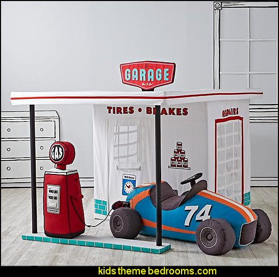 Gearhead Garage Gas Pump  -  Gearhead Garage Playhouse Blue Grandest Prix Plush Speedster Sit-On