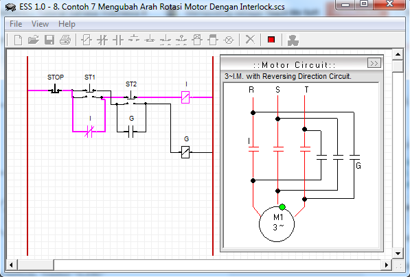 Mengubah Arah Rotasi Motor Dengan Manual (Interlock)
