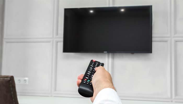 tv led lg layar blank biru hitam