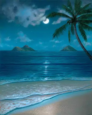 The Sea-scape and the landscape are both in the subdued melancholic beauty of the coming and retreat of the waves at night.