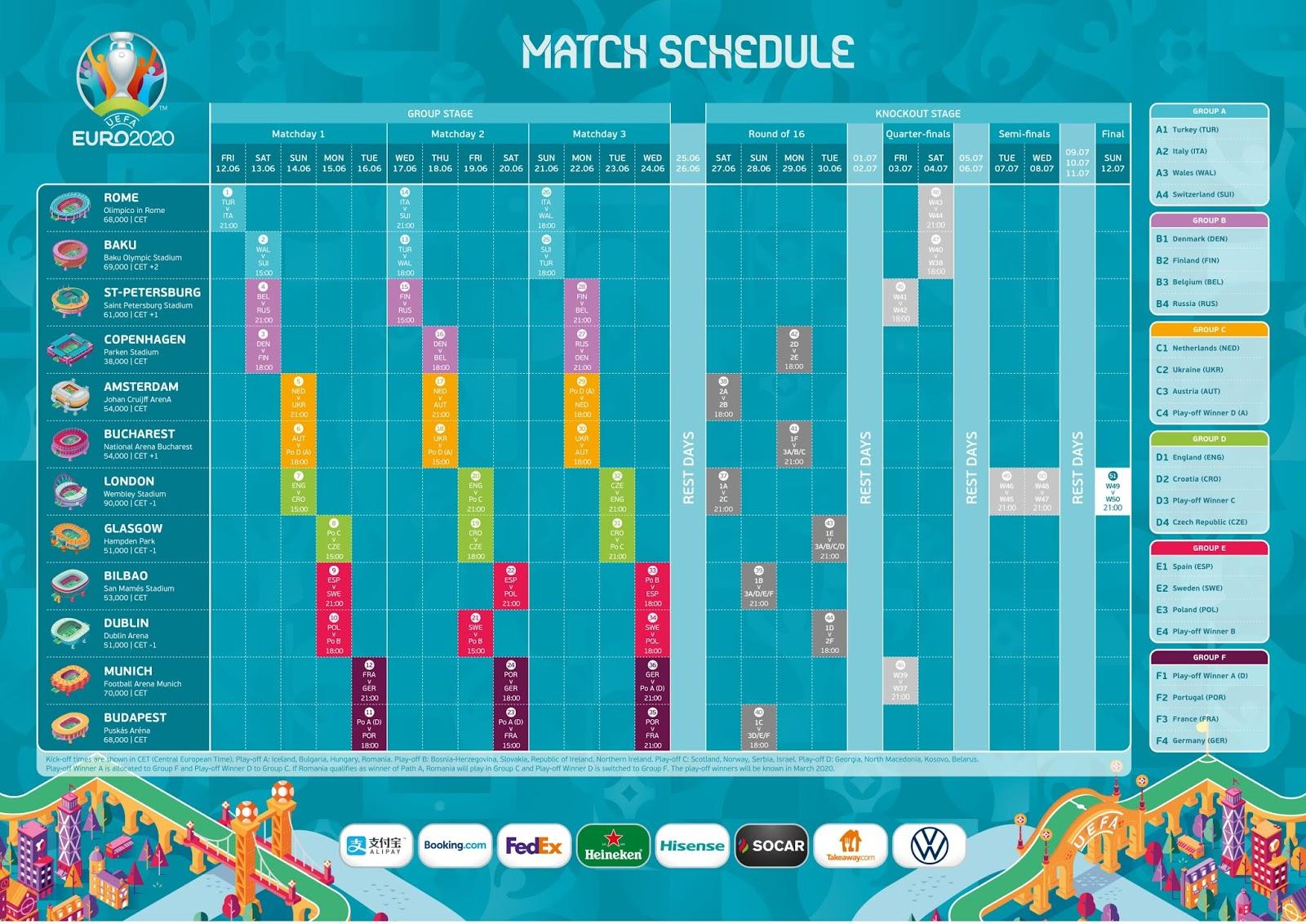 Download Jadwal Piala Eropa UEFA Euro 2020 .PDF