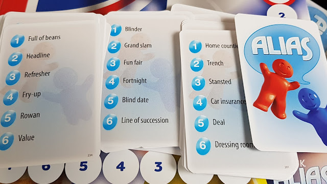 UK ALIAS Family Board Game Review word card examples