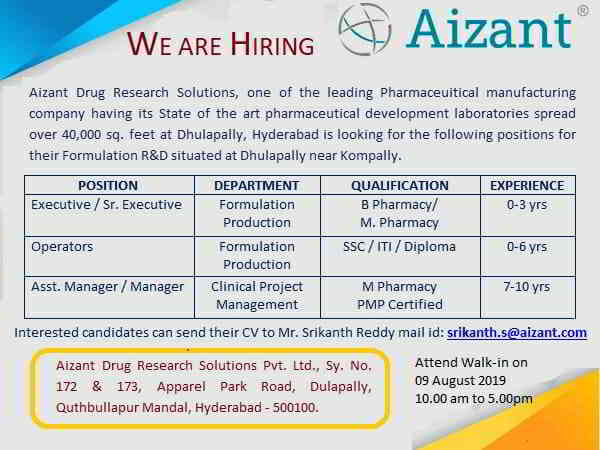Aizant Drug Research - Walk-in interview for multiple positions on 9th August, 2019