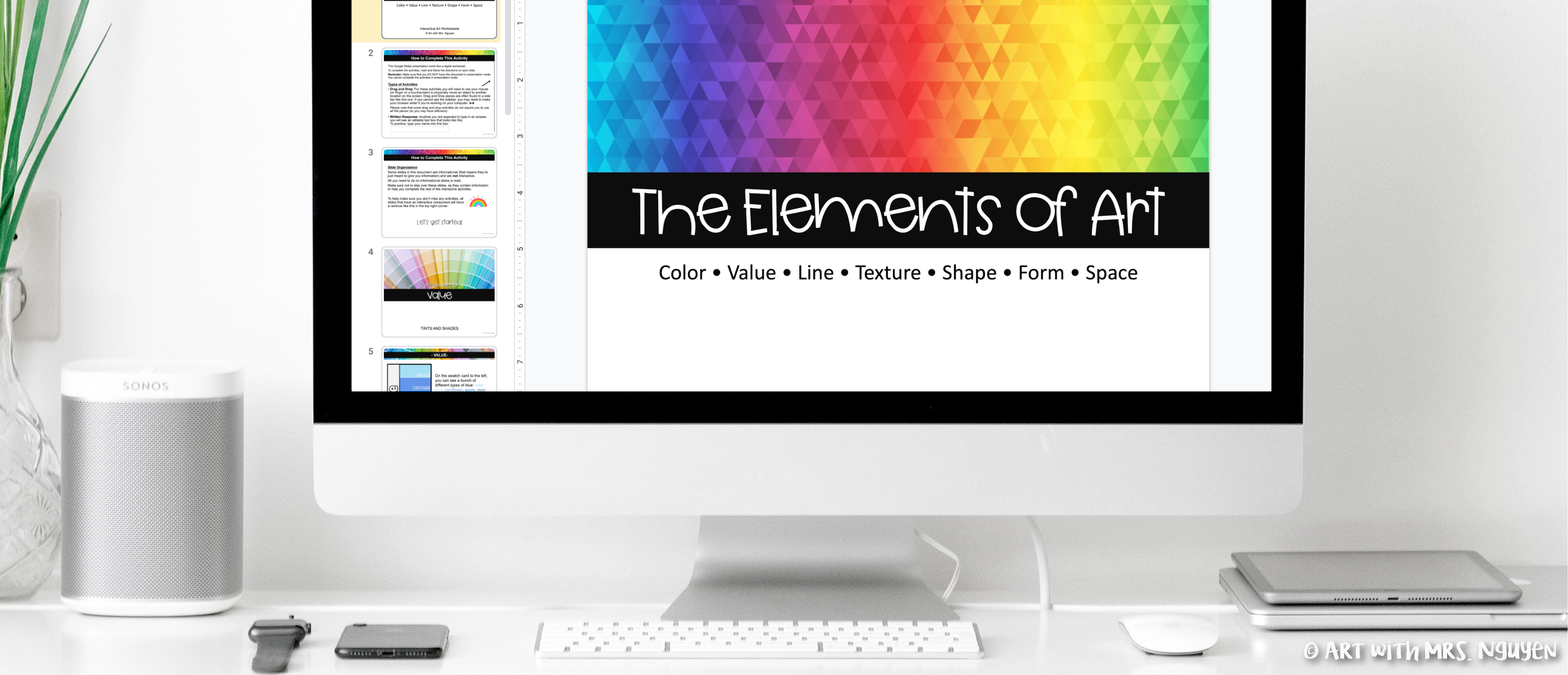 Elements of Art Interactive Worksheets for Distance Learning   Art with  Mrs. Nguyen [ 3473 x 8063 Pixel ]