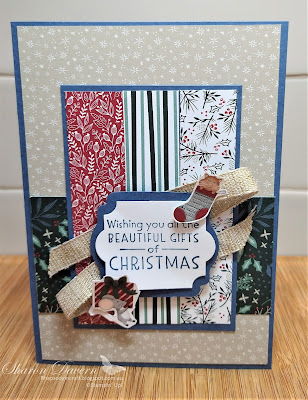 Rhapsody in craft, Misty Moonlight,#rhapsodyincraft,#heartofchristmas2021,Christmas, Christmas cards, Inspired Thoughts, Tidings of Christmas DSP, Label Me Lovely Punch, Everyday Label Punch, Sweet Stocking DSP, Fine Art Ribbon, Stampin' Up!, Annual Catalogue 2021