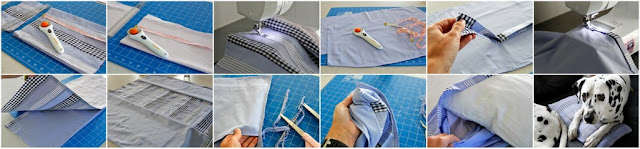 Step-by-step DIY instructions for how to make a patchwork envelope cushion cover using old shirts.