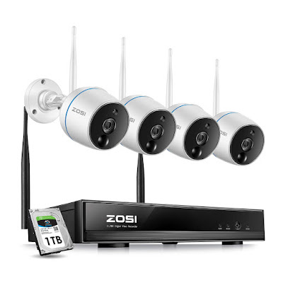 ZOSI 2MP FHD Wireless Security Camera System Outdoor Indoor, 8CH NVR with 1TB Hard Drive Built-in and (4) Weatherproof IP camera 1080p, Plug and Play, Auto Match, Two-Way Audio, PIR Motion Detection