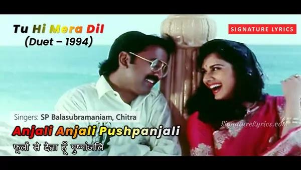Anjali Anjali Song Lyrics in Hindi - Tu Hi Mera Dil 1994