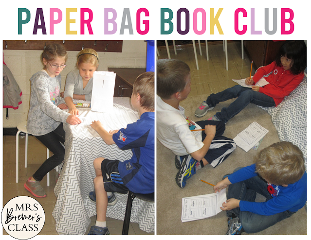 Paper Bag Book Club questions and editable templates for book study discussions in K-2