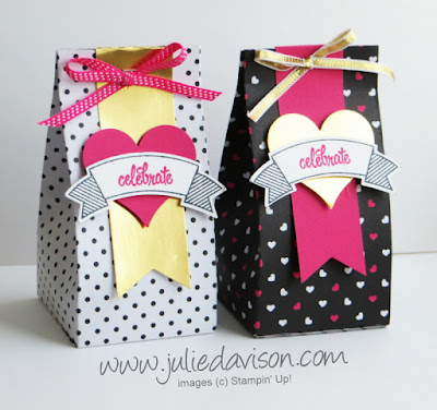 Stampin' Up! Thoughtful Banners Heart 2-4-6 Treat Box TUTORIAL -- easy favors for weddings, baby showers, party favors www.juliedavison.com