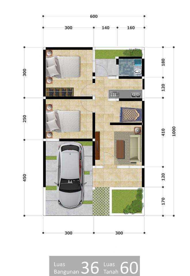 Denah Rumah Type 36 Dan Tampaknya Plus Mushola Desain Rumah Minimalis
