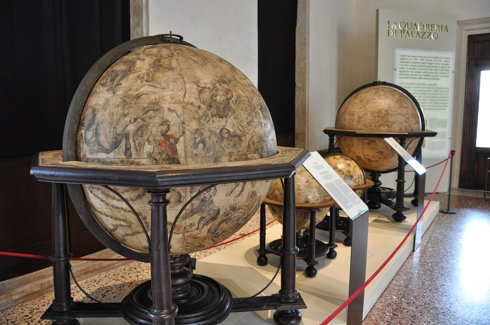globes main room Civic Art Gallery Palazzo Chiericati Vicenza