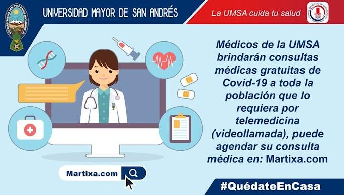 Médicos de la UMSA brindarán consultas médicas gratuitas de Covid-19 a toda la población