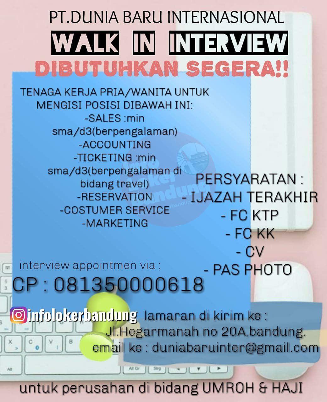 Lowongan Kerja PT. Dunia Baru Internasional ( Travel Haji & Umroh ) Bandung Oktober 2019