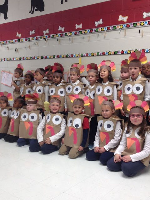 Paperbag turkey costume for school.
