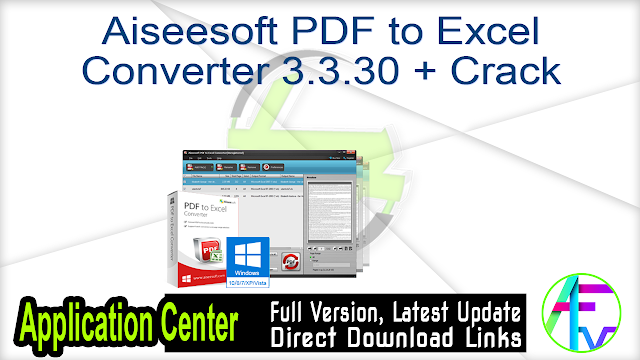 Aiseesoft PDF to Excel Converter 3.3.30 + Crack