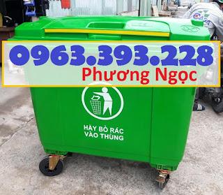Xe đẩy rác 660 lít 4 bánh, xe gom rác công nghiệp, thùng rác 660L nhựa HDPE XR660L4B4