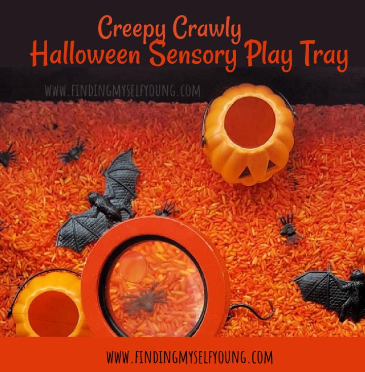 creepy crawly halloween sensory play tray
