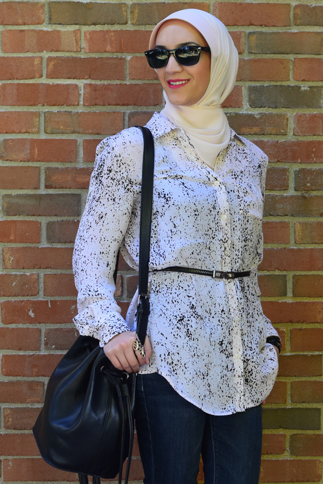 A Day In The Lalz; Banana Republic Abstract Print Boyfriend Shirt' Pink and Black; Fall Style; One Shirt Two looks; Day to Night; Black Maxi Skirt; Hijab; Modest Fashion; Fashion Blog; Versatile Blouse; Bucket Bag; Tory Burch Reva; Haute Hijab