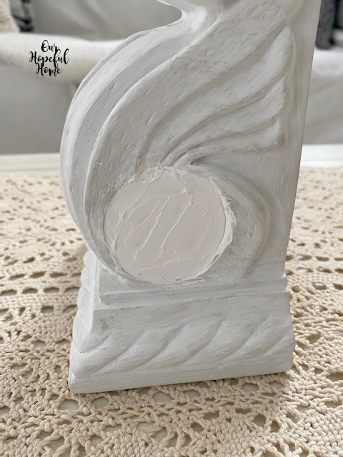 white painted drapery sconce corbel bookend spackle filler