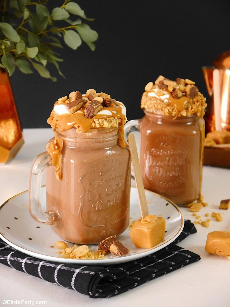 Peanut Butter Hot Chocolate Recipe with Peanut Butter Fudge Drink Stirrers – a delicious, rich and creamy recipe that is perfect to serve in winter months, or for entertaining over the holiday period! #ad #HowDoYouPB #NationalPeanutBoard