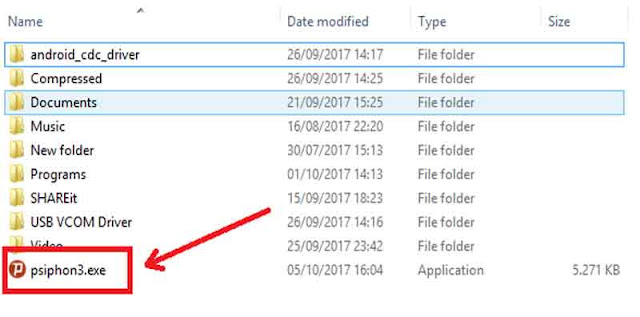 Folder Penyimpanan Psiphon