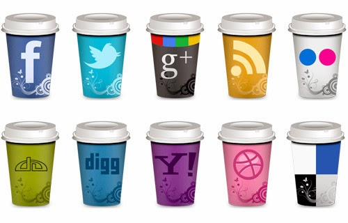 take out coffee cup style social icon set