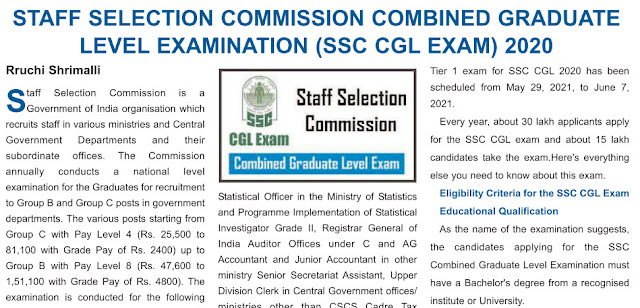 SSC CGL 2020 Notification on Employment News (sscofficer.in)