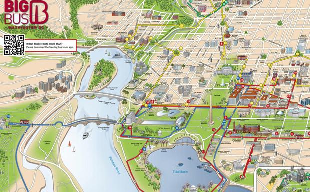 Passeio de ônibus turístico em Washington: Mapa do Big Bus